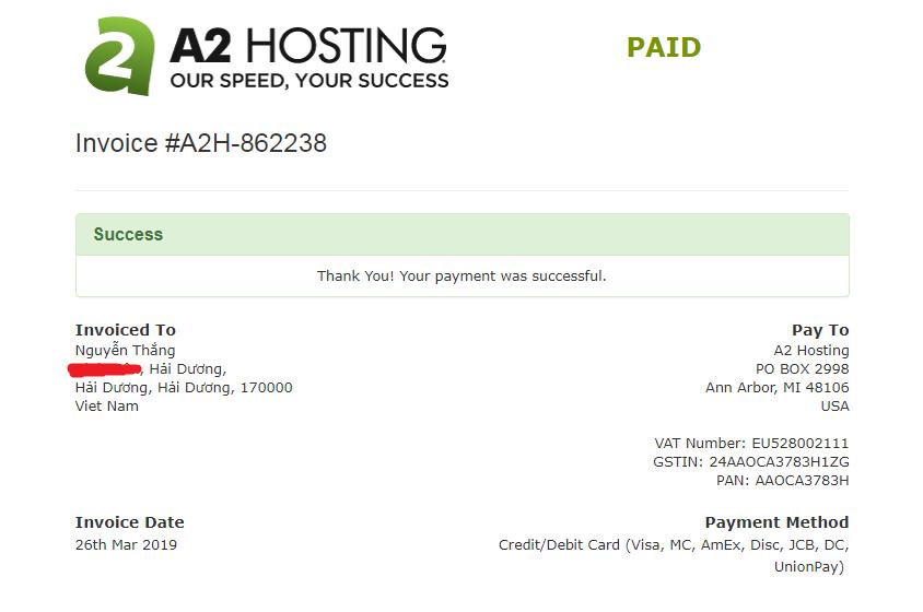 hướng dẫn mua A2 Hosting