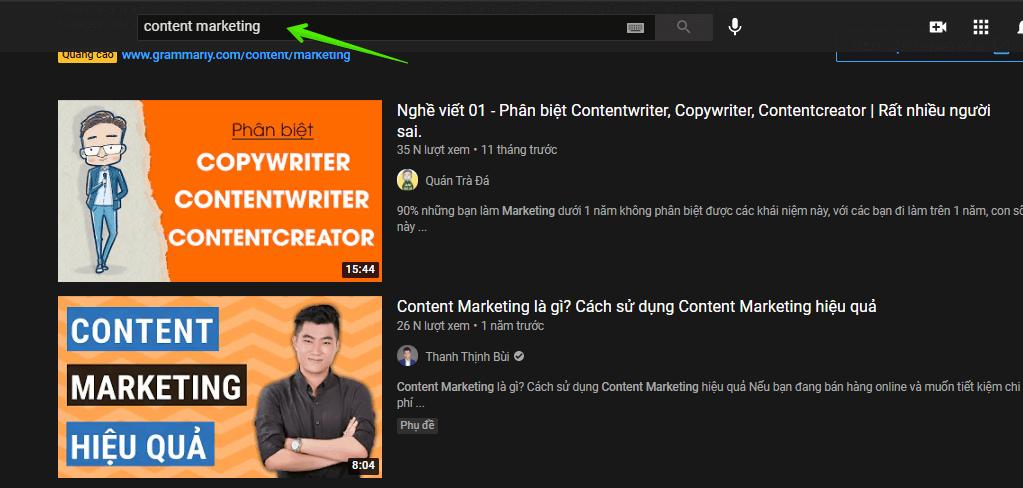 tự học content marketing trên youtube