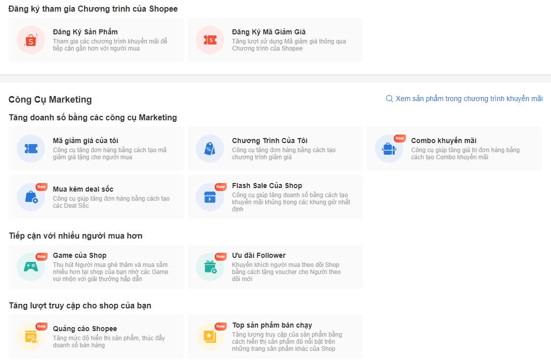 Các công cụ marketing trên kênh người bán Shopee