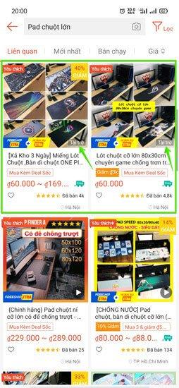 quảng cáo tìm kiếm sản phẩm Shopee