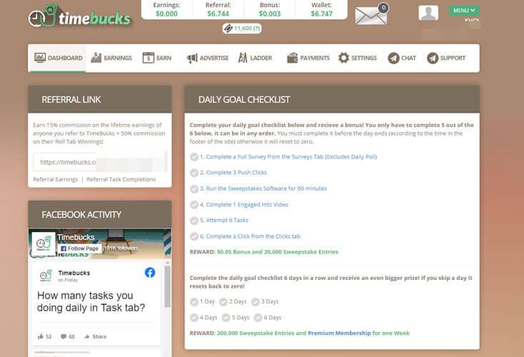 giao diện trang chủ timebucks