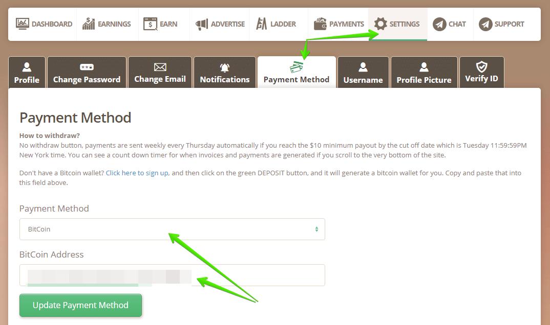 địa chỉ ví bitcoin trong payment timebucks